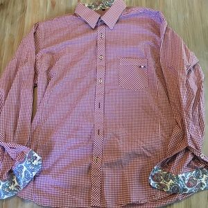 Red Check Jared Lang Button Up Shirt